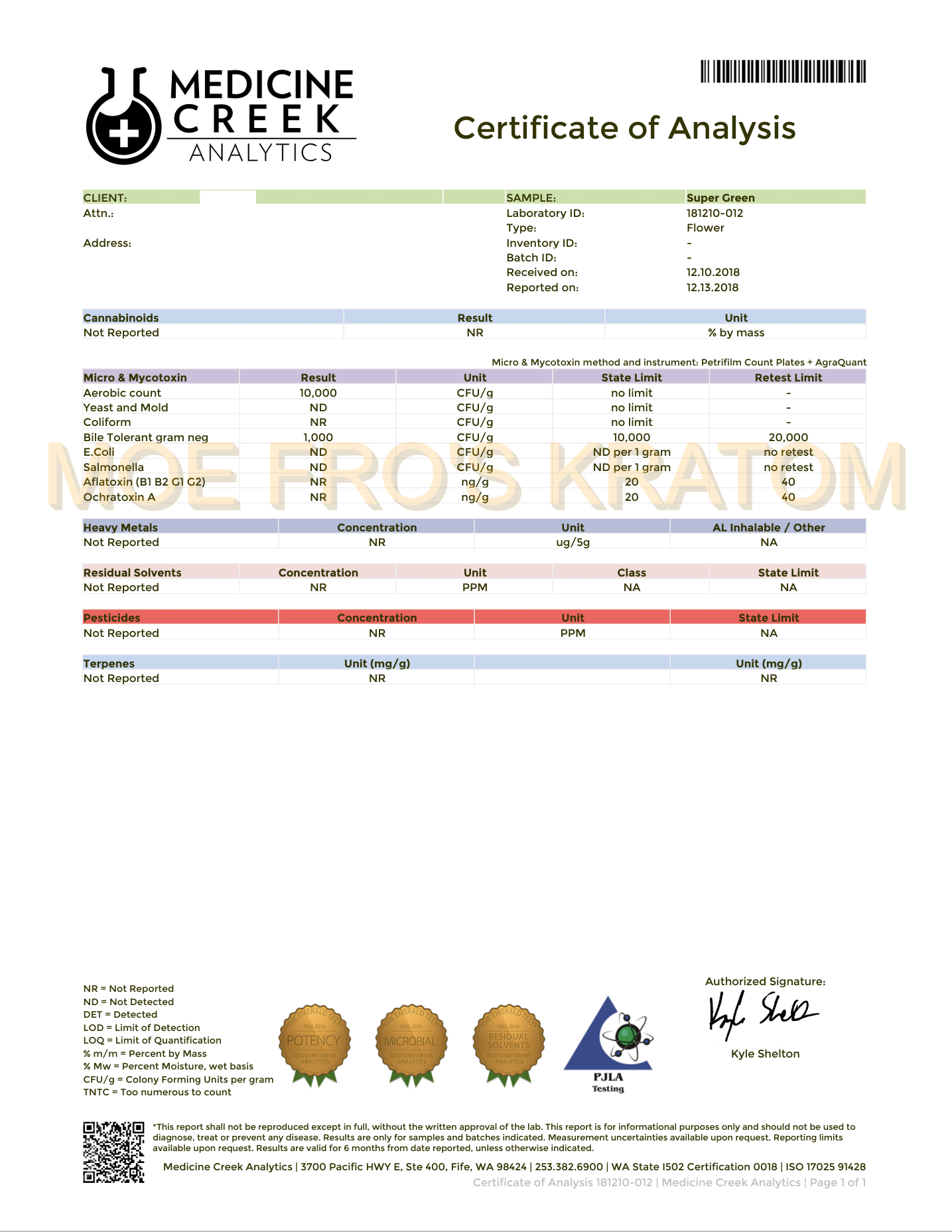 We have a new lab report showing our Kratom is pure with no